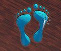 Shaped pool footstep Royalty Free Stock Photo