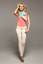 Shapely blonde girl summer collection Royalty Free Stock Images