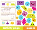 Shapes activity page for kids. Educational children game list for learning geometric forms