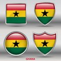 Ghana Flag in 4 shapes collection with clipping path