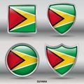 Guyana Flag in 4 shapes collection with clipping path