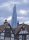 The shard from the tower london view of of with a cloudy sky Royalty Free Stock Photos