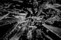 Shards of glass on black Stock Photo