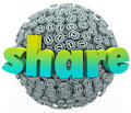 Share email sign symbol sphere give feedback word on a ball or of symbols to communicate your opinion comments or concerns about Royalty Free Stock Images
