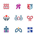 Share people community help for rebuilding society logo icon set enjoy Stock Image