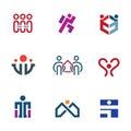 Share people community help for rebuilding society logo icon set enjoy Stock Image