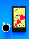 Mobile phone with doodle art and coffee cup