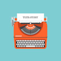Share your story flat illustration design style modern vector concept of a manual vintage stylish typewriter with text on a paper Stock Images