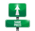 Shared prices road sign illustration design over white Stock Image