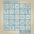 Sharing activity icon doodle set with style Royalty Free Stock Photography