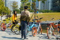 Sharing bicycles in the streets, convenient for people to travel. In Shenzhen, china. Royalty Free Stock Photo