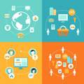 Sharing Economy and Collaborative Consumption Concept Illustration Set Royalty Free Stock Photo