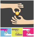 Sharing a golden coin Stock Images