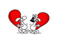 Sharing love vectorel conceptual humorous cartoon about valentines day and Royalty Free Stock Photos