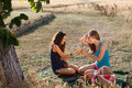 Sharing a peach picnic scene with two young women Royalty Free Stock Photos