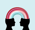 Sharing profile silhouette of two heads connected by a rainbow theme connecting corporation Stock Image