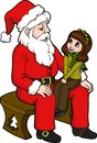 Sharing with santa isolated illustration of a little girl sitting on santas lap about her wish list for christmas illustration by Stock Photos