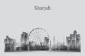 Sharjah city skyline silhouette in grayscale