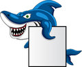 Shark with blank sign Stock Image