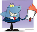 Shark businessman holding a flaming bad contract Royalty Free Stock Image