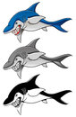 Shark cartoon angry in color gray scale and black and white vector Stock Photography