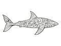 Shark coloring book for adults vector illustration anti stress adult zentangle style black and white lines lace Stock Images