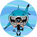 Shark and diver Royalty Free Stock Photo