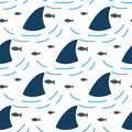 Shark fin in water waves seamless pattern. Royalty Free Stock Photo