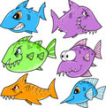 Shark and fish Set Royalty Free Stock Image