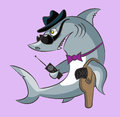 Shark the gangster toothy is in a hat and dark glasses has gun in a holster and a handheld transceiver Royalty Free Stock Images