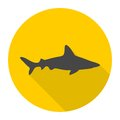 Shark icon with long shadow