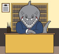 Shark lawyer sitting at his desk Stock Image