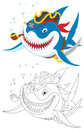 Shark pirate great white with his saber hat and pipe color and black and white outline illustrations Stock Photo
