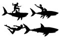 Shark rider editable vector silhouettes of a man riding a with men and sharks as separate objects Royalty Free Stock Image