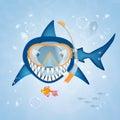 Shark with scuba mask