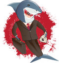 Shark in a suit greedy business man that just made killing Stock Photo