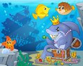 Shark with treasure theme image 3 Royalty Free Stock Photo