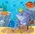 Shark with treasure theme image 4 Royalty Free Stock Photo
