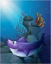 A shark under the sea near the rocks illustration of on white background Stock Photo