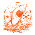 Shark waves vector illustration ideal for printing on apparel clothes Royalty Free Stock Images