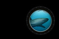Shark white sharks predators swimming in deep sea seen through submarine window d generated images Stock Images