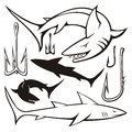 Sharks and hooks shark hook icons silhouettes isolated on white background Stock Images