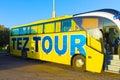 Sharm El Sheikh, Egypt - April 07, 2017: The tour bus by TEZ Tour waiting for tourists Royalty Free Stock Photo