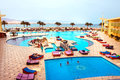 Sharm El Sheikh, Egypt - April 9 2017: The view of luxury hotel Barcelo Tiran Sharm 5 stars at day with blue sky