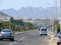 Sharm el sheikh egypt november view of the city road with moving cars in Royalty Free Stock Photo