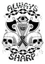 Always sharp abstract illustration of two skulls and axes Stock Image