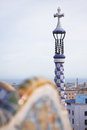 Sharp shot of the tower in the park guell in barcelona foreground unsharp Royalty Free Stock Photography