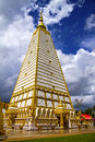 Sharp square pagoda with cloud in temple country of thailand Royalty Free Stock Images