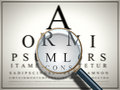 Sharp unsharp an image of a test with a magnifying glass Stock Images