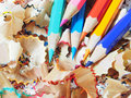 The sharpen color pencils on shavings Royalty Free Stock Image